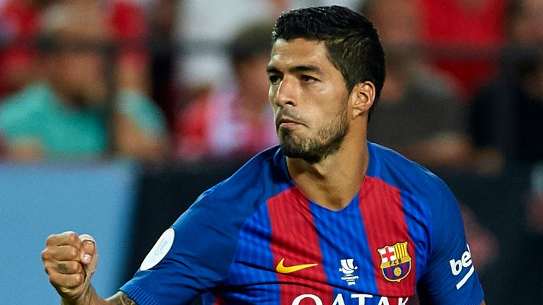 Luis Suarez said he was pleased with his booking for Barcelona on Sunday