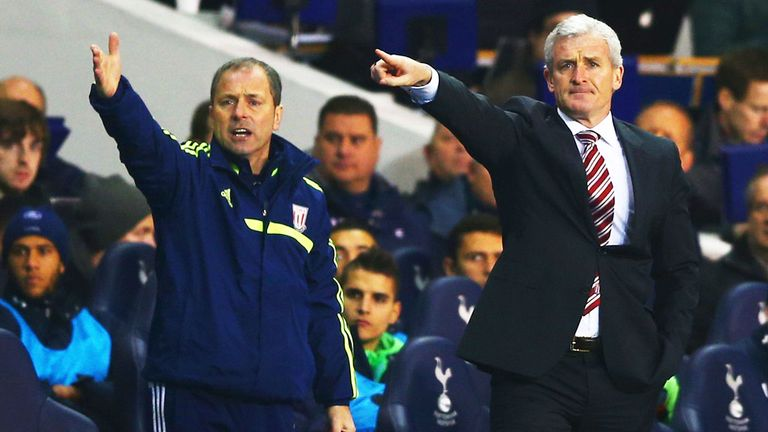 Stoke management duo Mark Bowen (left) and Mark Hughes