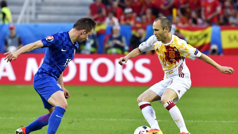 Marko Rog (L) in action for Croatia against Spain at Euro 2016