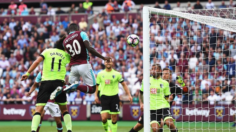 Antonio jumped high to head in the only goal against Bournemouth