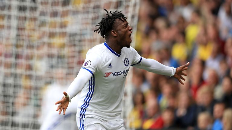 Chelsea substitute Michy Batshuayi celebrates after scoring against Watford