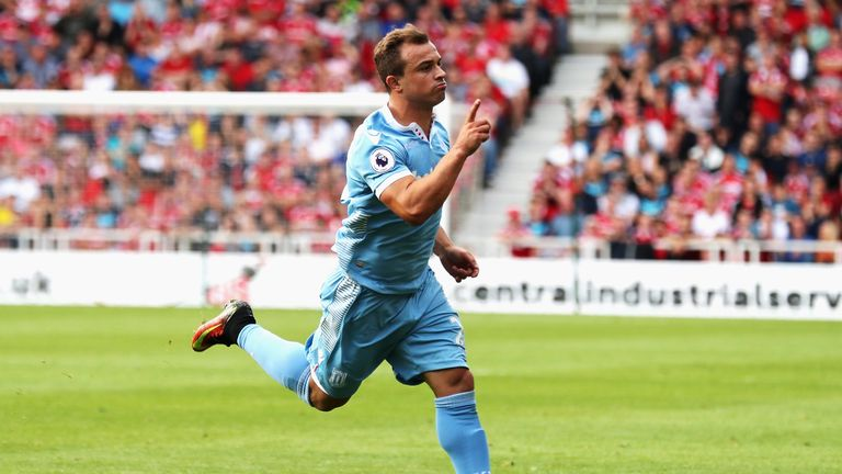 Xherdan Shaqiri earned Stoke a draw with Middlesbrough