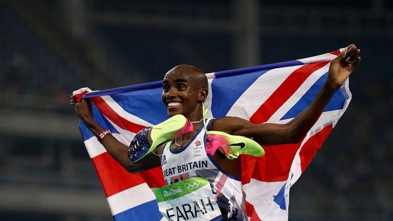 Mo Farah celebrates winning the 5000m in Rio