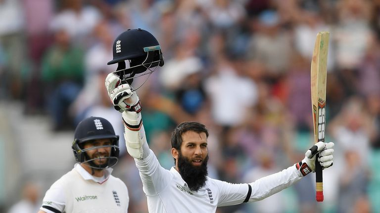 Moeen Ali celebrates scoring his third Test century