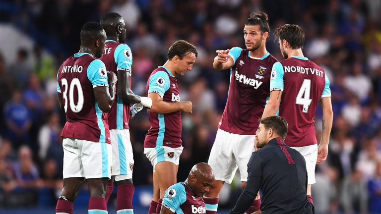 Andre Ayew suffered a thigh injury in West Ham's 2-1 defeat to Chelsea on Monday.