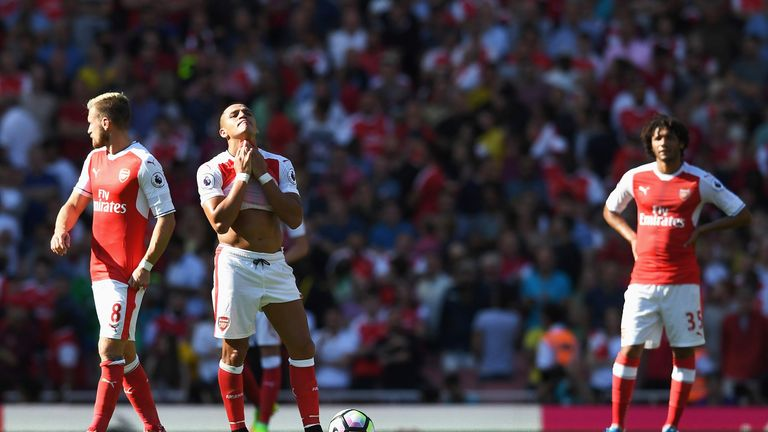 Alexis Sanchez was used as a striker in Arsenal's 4-3 defeat to Liverpool