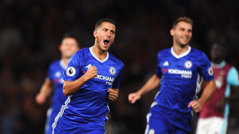 Eden Hazard celebrates scoring from penalty spot