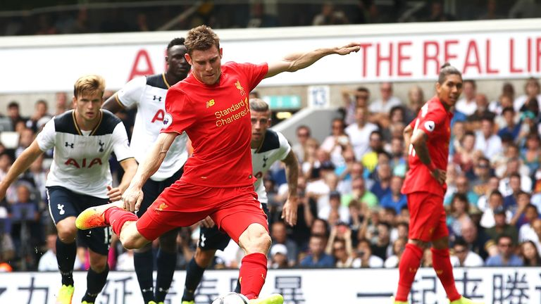 James Milner scores from the penalty spot at White Hart Lane