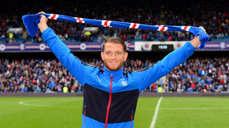 Rangers newest signing Joe Garner was paraded before the crowd at Ibrox on Saturday