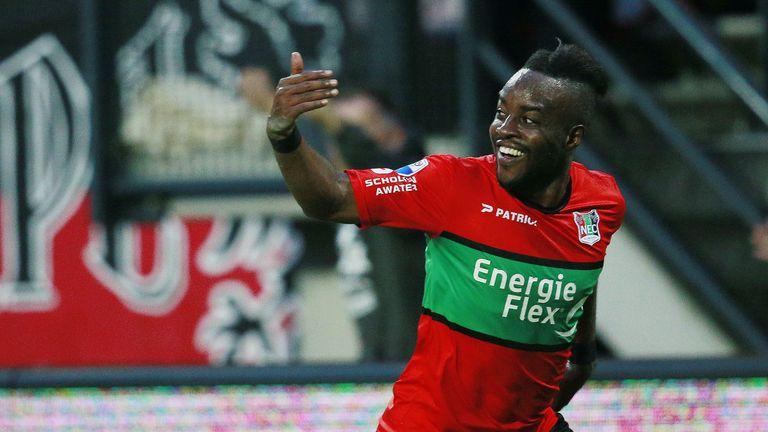 Reagy Ofosu celebrates his equaliser against PEC Zwolle on Friday