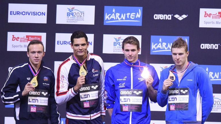 Ben Proud (right) wins joint bronze at the 2014 European Swimming Championships
