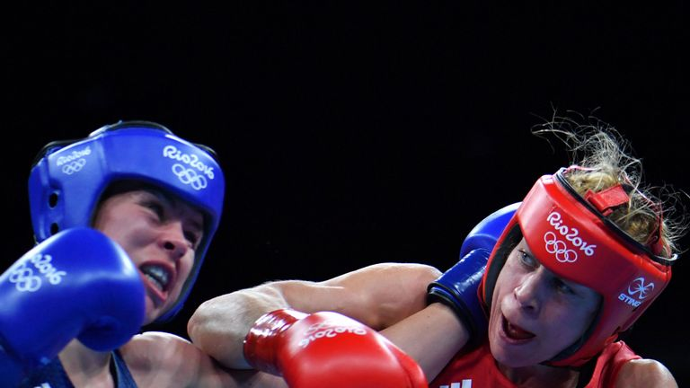 Sweden's Anna Laurell Nash (right) fights Great Britain's Savannah Marshall at the Rio Olympics