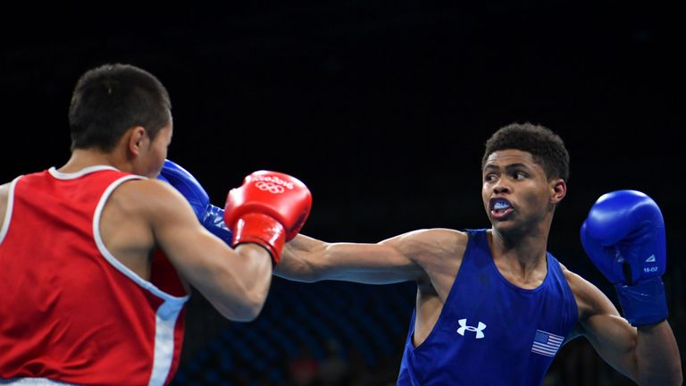 Shakur Stevenson (right) has won twice in Rio so far