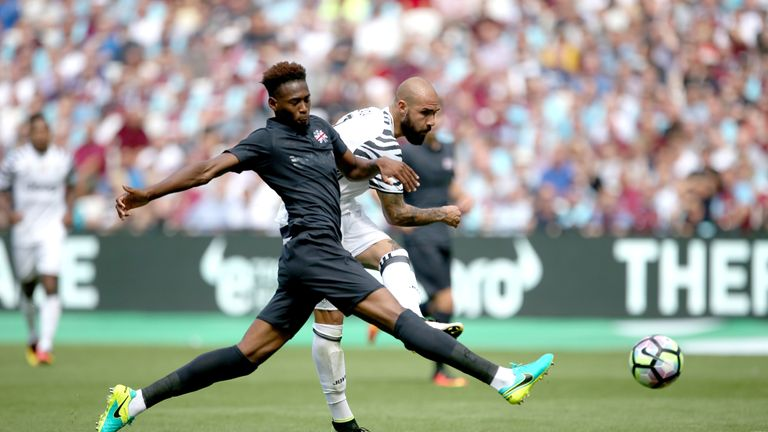 Zaza scores his side's third goal of the game during the Betway Cup match at London Stadium