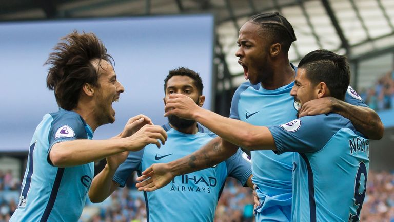 Raheem Sterling celebrates scoring Manchester City's first goal against West Ham