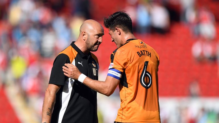 Walter Zenga shares a moment with Danny Batth