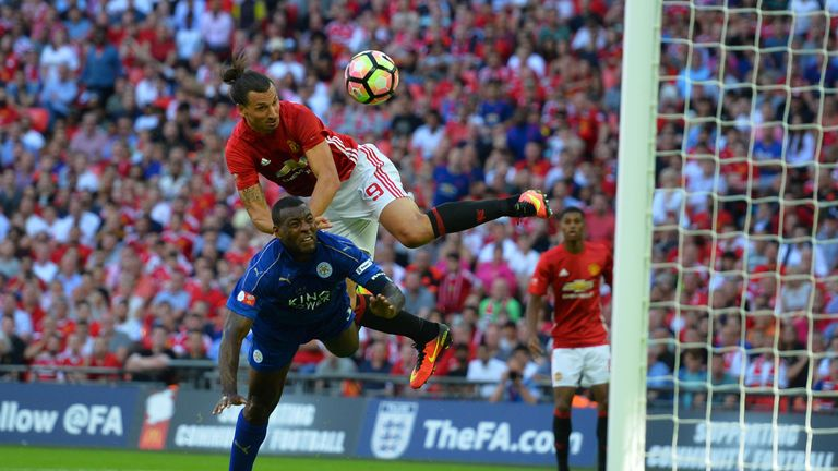 Ibrahimovic beats Wes Morgan to score Manchester United's winner in the Community Shield