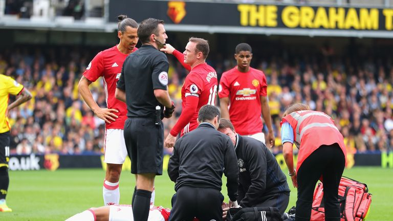 Anthony Martial fell to the ground in clear discomfort after the clash