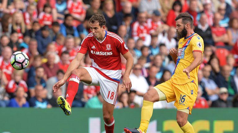 Joe Ledley shadows Christian Stuani during Crystal Palace's win at Middlesbrough