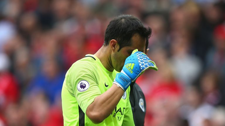 Man City's new goalkeeper Claudio Bravo was involved in a couple of contentious decisions on his debut for the club in Saturday's Manchester derby