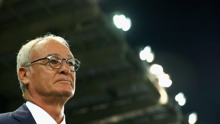 Claudio Ranieri looks on prior to Club Brugge v Leicester