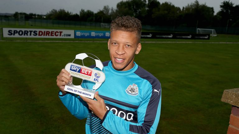 Dwight Gayle of Newcastle with the Sky Bet Championship Goal of the Month award