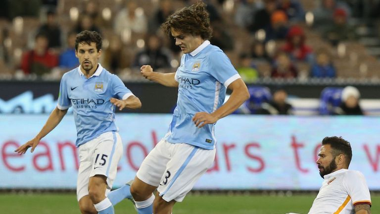 Enes Unal (centre) in action for Manchester City in the International Champions Cup