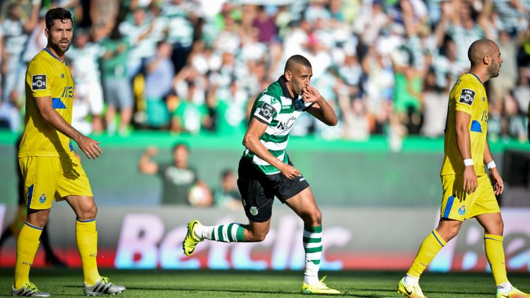 Slimani celebrates after scoring his last goal for Sporting against Porto