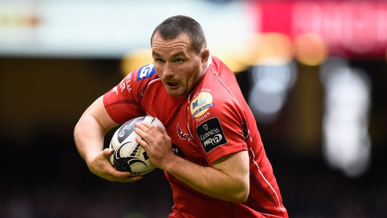 Ken Owens of the Scarlets in action during the Guinness Pro 12 match between Newport Gwent Dragons and Scarlets at Principality