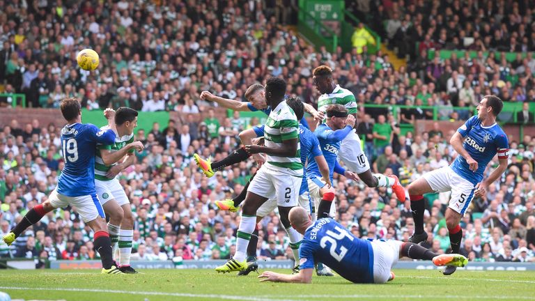 Celtic's Moussa Dembele heads home for his first goal