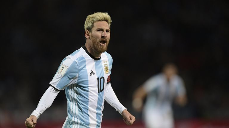 Lionel Messi celebrates after scoring against Uruguay