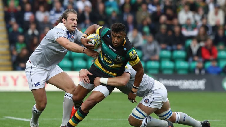 Luther Burrell on the charge for Saints