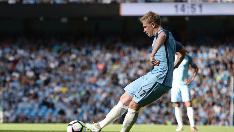 Kevin De Bruyne nets the opening goal at the Etihad