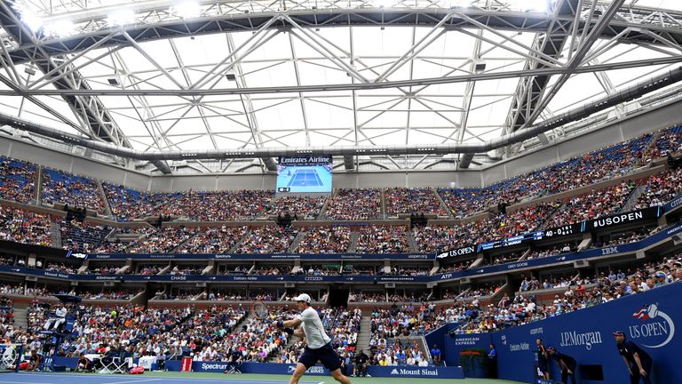Murray under the roof at Flushing Meadows which was closed midway through the second set