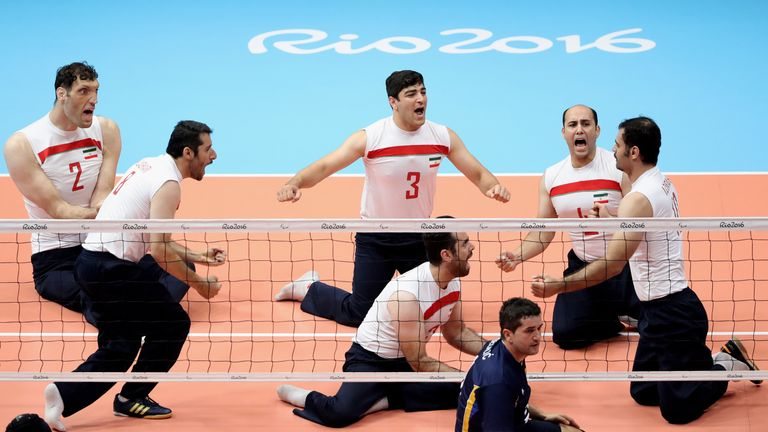 The team of Iran celebrates during the Sitting Volleyball Final mach against Bosnia and Herzegovina