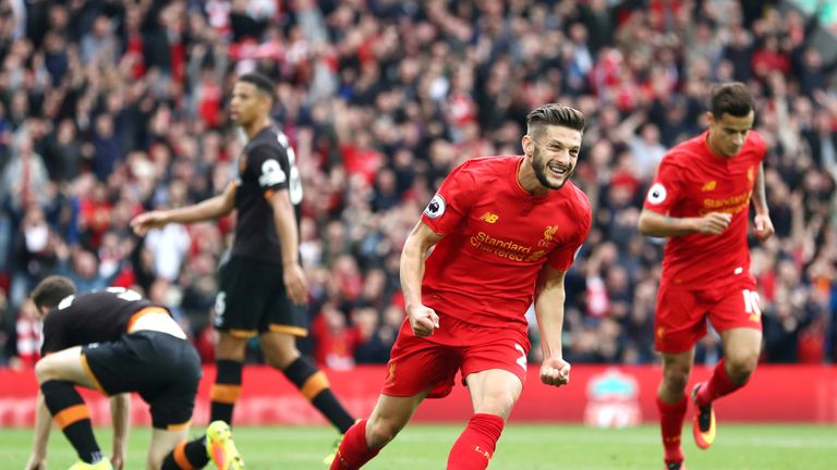 Adam Lallana after scoring the opening goal of the game