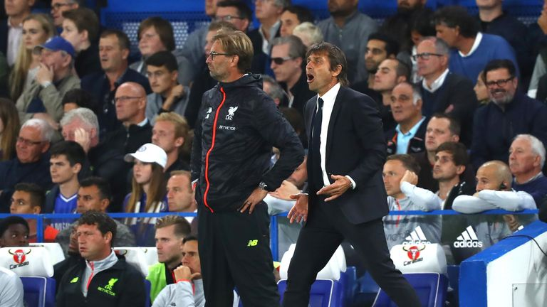 Antonio Conte's Chelsea currently lead the Premier League but Liverpool, led by Klopp, are in second place