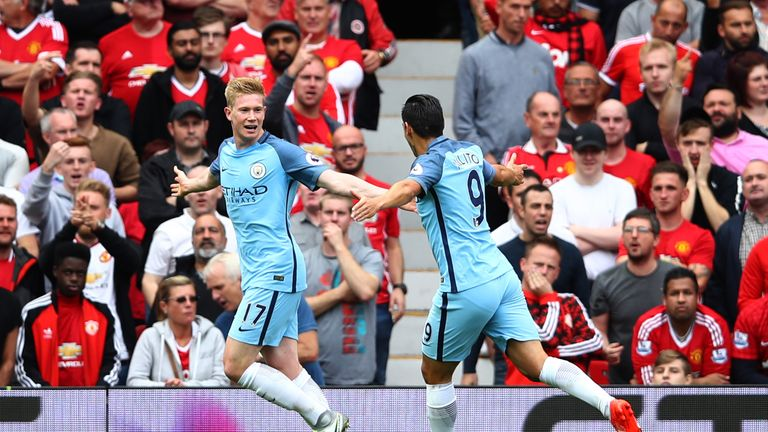 Kevin De Bruyne celebrates the opening goal with Nolito