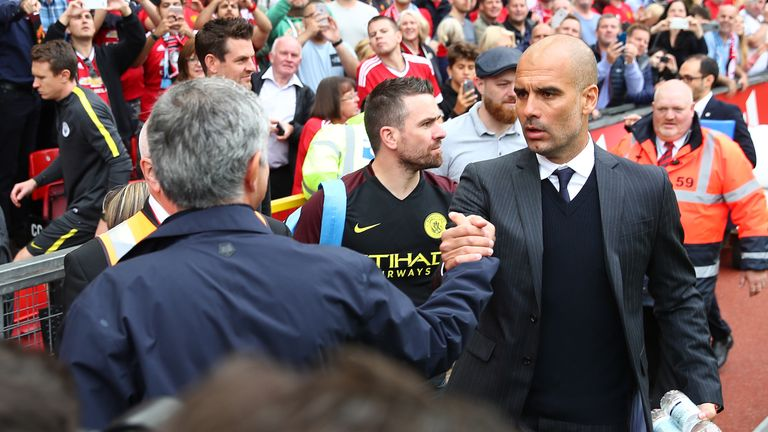 Mourinho shakes hands with Pep Guardiola prior to kick-off