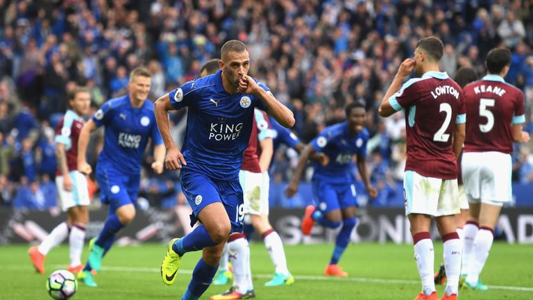 Islam Slimani scored twice for Leicester against Burnley