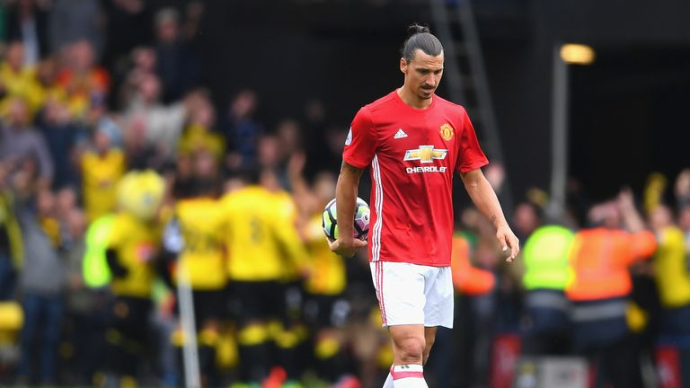 Ibrahimovic missed a key chance in the 3-1 defeat away to Watford