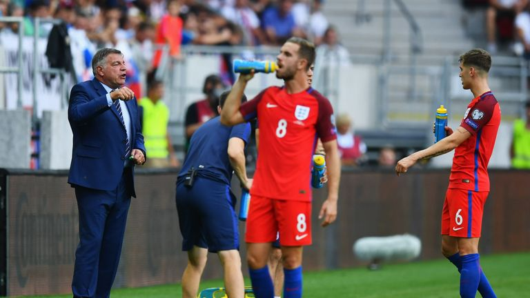 Sam Allardyce gives instructions during his first match in charge of England