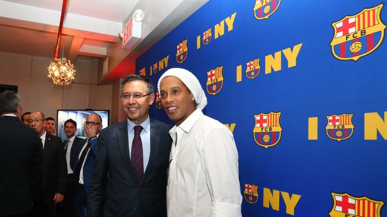 Barcelona president Josep Maria Bartomeu was joined by Ronaldinho at the club's opening of their New York office