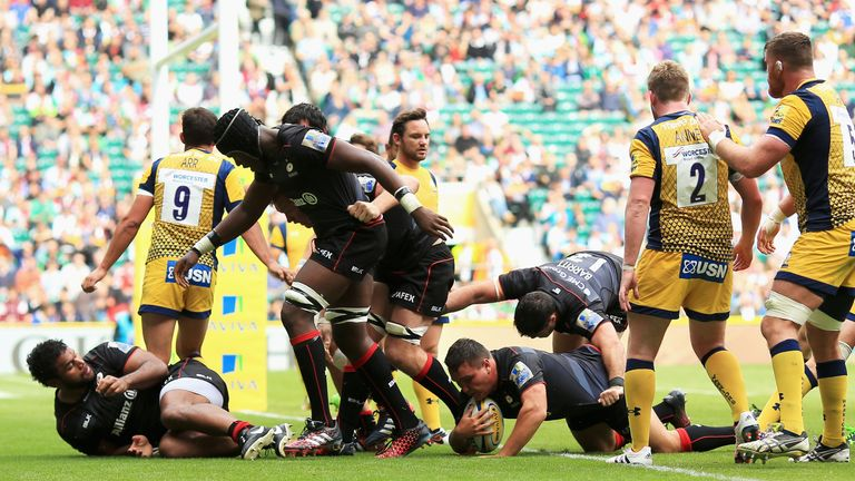 England hooker Jamie George scores Saracens' first try