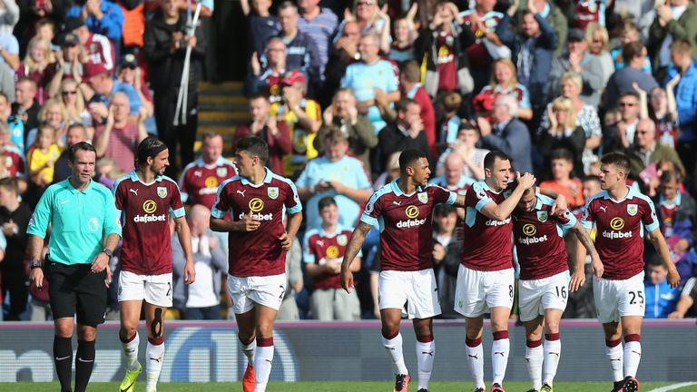 Steven Defour of Burnley celebrates scoring his side's goal against Hull