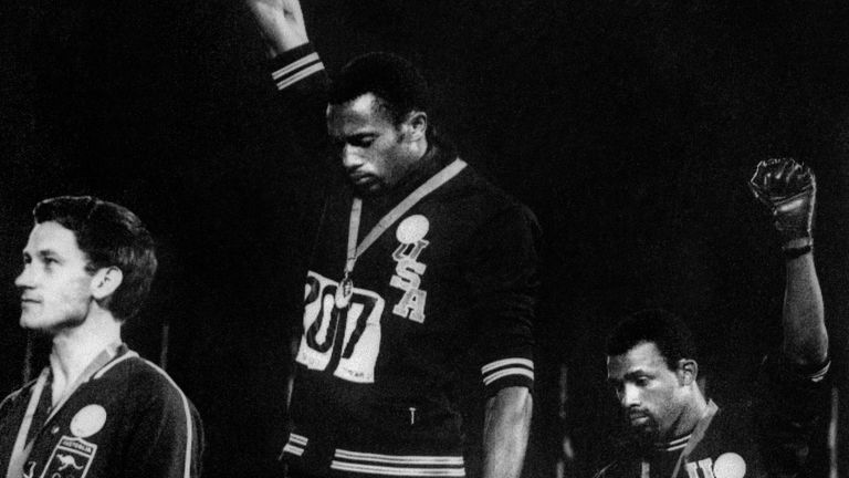Tommie Smith and John Carlos clenched their fists at the 1968 Olympics