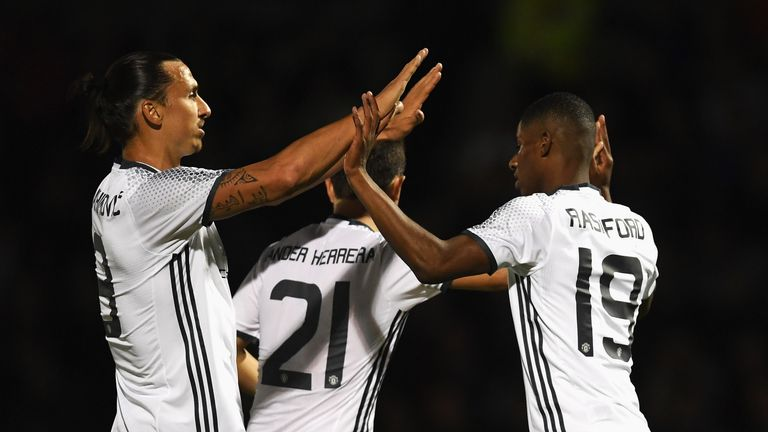 Rashford celebrates with Ibrahimovic after scoring against Northampton Town in the EFL Cup