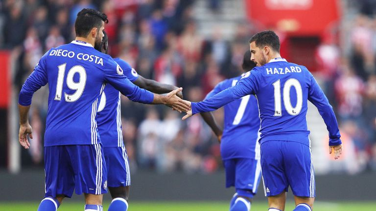 Diego Costa and Eden Hazard have scored a combined total of 13 Premier League goals for Chelsea so far this season