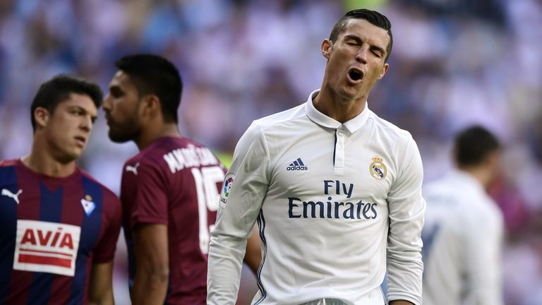 Cristiano Ronaldo vents his frustration during the Eibar stalemate