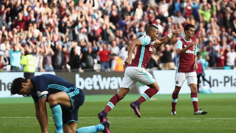 Payet celebrates his goal against Boro